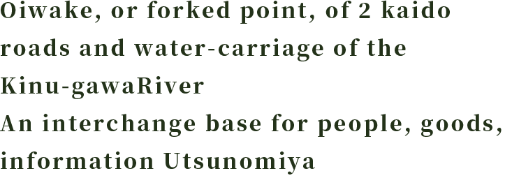 Oiwake, or forked point, of 2 kaido roads and water-carriage of the Kinu-gawaRiver An interchange base for people, goods, information Utsunomiya