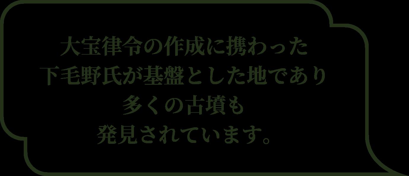 大宝律令の作成に携わった下毛野氏が基盤とした地であり多くの古墳も発見されています。