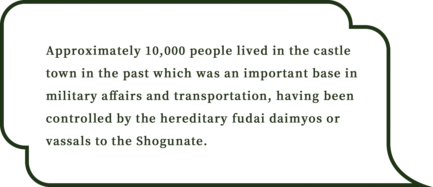 Approximately 10,000 people lived in the castle town in the past which was an important base in military affairs and transportation, having been controlled by the hereditary fudai daimyos or vassals to the Shogunate.